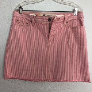 Gap Jeans Pink & Creme Denim Skirt Striped Raw Hem